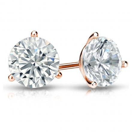 Certified 14k Rose Gold 3-Prong Martini Round Diamond Stud Earrings 1.75 ct. tw. I-J, I1-I2)