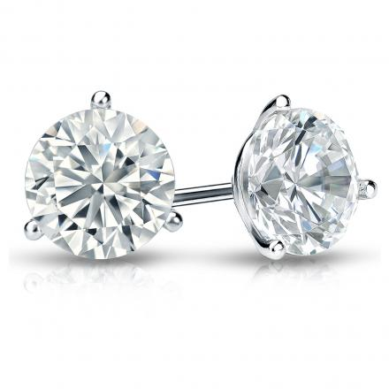 Certified Platinum 3-Prong Martini Round Diamond Stud Earrings 1.75 ct. tw. (G-H, VS2)