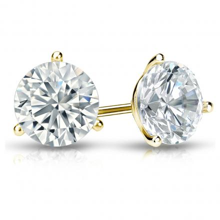 Certified 14k Yellow Gold 3-Prong Martini Round Diamond Stud Earrings 1.75 ct. tw. (I-J, I1-I2)