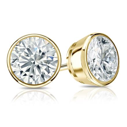 Certified 14k Yellow Gold Bezel Round Diamond Stud Earrings 1.75 ct. tw. (I-J, I1-I2)