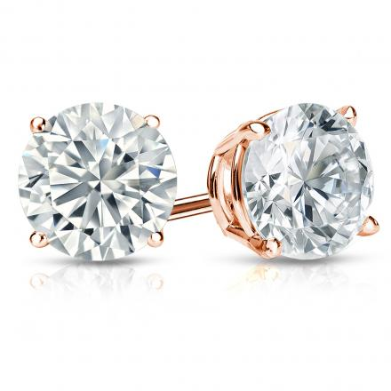 Certified 14k Rose Gold 4-Prong Basket Round Diamond Stud Earrings 2.00 ct. tw. (G-H, VS2)