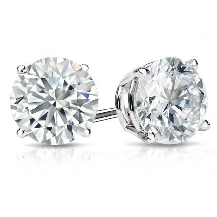 Certified 14k White Gold 4-Prong Basket Round Diamond Stud Earrings 2.00 ct. tw. (H-I, I1-I2)