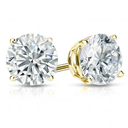 Certified 14k Yellow Gold 4-Prong Basket Round Diamond Stud Earrings 2.50 ct. tw. (E-F, I1-I2)