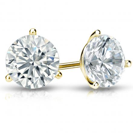 Certified 14k Yellow Gold 3-Prong Martini Round Diamond Stud Earrings 2.00 ct. tw. (I-J, I1-I2)
