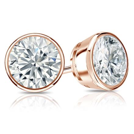Certified 14k Rose Gold Bezel Round Diamond Stud Earrings 2.00 ct. tw. I-J, I1-I2)