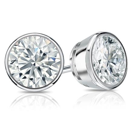 Certified 18k White Gold Bezel Round Diamond Stud Earrings 2.00 ct. tw. (I-J, I1-I2)