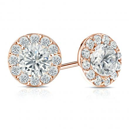 Certified 14k RoseGold Halo Round Diamond Stud Earrings 3.00 ct. tw. (I-J, I1-I2)