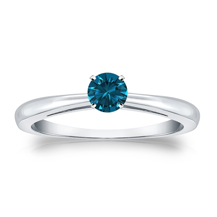 Certified 14k White Gold 4-Prong Blue Diamond Solitaire Ring 0.25 ct. tw. (Blue, SI1-SI2)