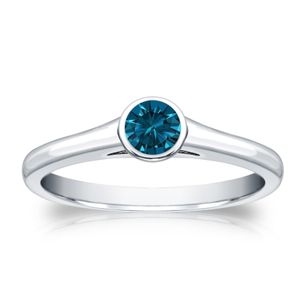 Certified Platinum Bezel Round Blue Diamond Ring 0.25 ct. tw. (Blue, SI1-SI2)