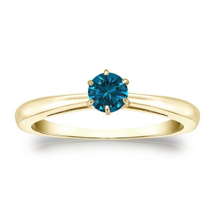 Certified 14k Yellow Gold 6-Prong Blue Diamond Solitaire Ring 0.25 ct. tw. (Blue, SI1-SI2)