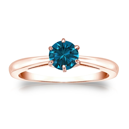 Certified 14k Rose Gold 6-Prong Blue Diamond Solitaire Ring 0.50 ct. tw. (Blue, SI1-SI2)