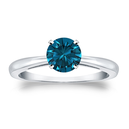 Certified 14k White Gold 4-Prong Blue Diamond Solitaire Ring 0.75 ct. tw. (Blue, SI1-SI2)