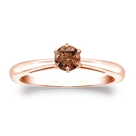 Certified 14k Rose Gold 6-Prong Brown Diamond Solitaire Ring 0.25 ct. tw. (Brown, SI1-SI2)