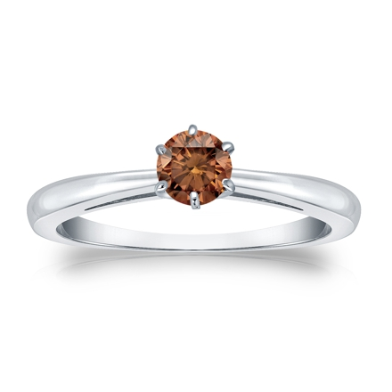 Certified 14k White Gold 6-Prong Brown Diamond Solitaire Ring 0.25 ct. tw. (Brown, SI1-SI2)