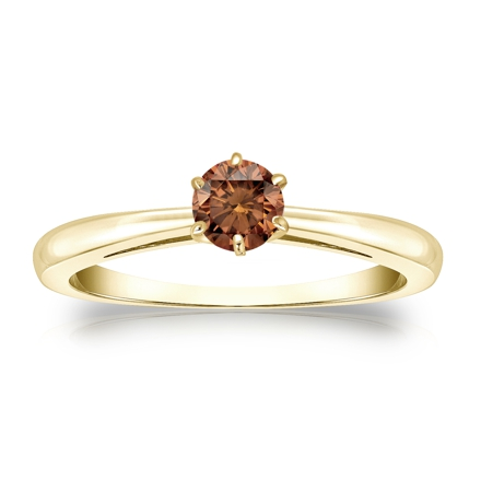 Certified 14k Yellow Gold 6-Prong Brown Diamond Solitaire Ring 0.25 ct. tw. (Brown, SI1-SI2)