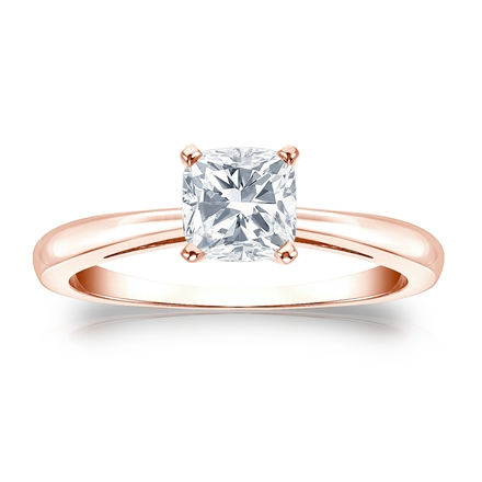 Certified 14k Rose Gold 4-Prong Cushion Diamond Solitaire Ring 0.75 ct. tw. (G-H, VS2)
