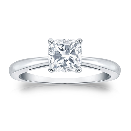 Certified 18k White Gold 4-Prong Cushion Diamond Solitaire Ring 1.00 ct. tw. (G-H, SI1)