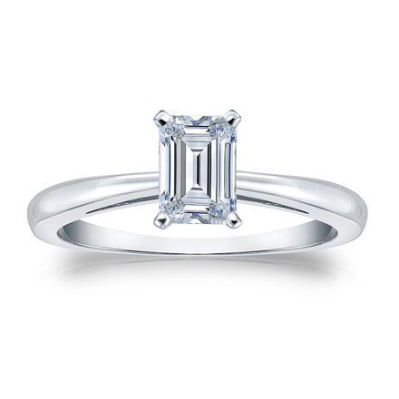 Lab Grown Diamond Solitaire Ring Emerald 0.50 ct. tw. (E-F, VS1-VS2) in 14K White Gold 4-Prong