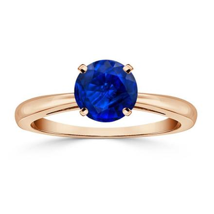 Certified 14k Rose Gold 4-Prong Round Blue Sapphire Gemstone Ring 0.25 ct. tw. (AAA)