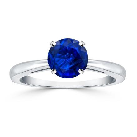 Certified 14k White Gold 4-Prong Round Blue Sapphire Gemstone Ring 0.25 ct. tw. (AAA)