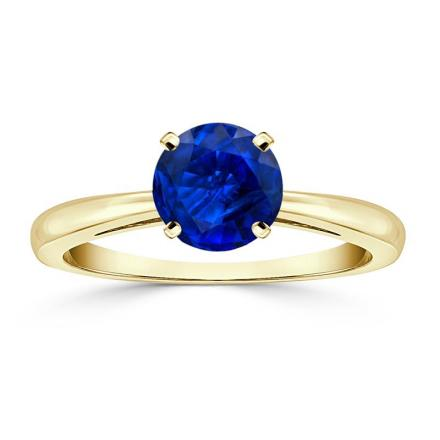Certified 14k Yellow Gold 4-Prong Round Blue Sapphire Gemstone Ring 0.50 ct. tw. (AAA)