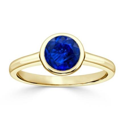 Certified 14k Yellow Gold Bezel Round Blue Sapphire Gemstone Ring 0.50 ct. tw. (AAA)