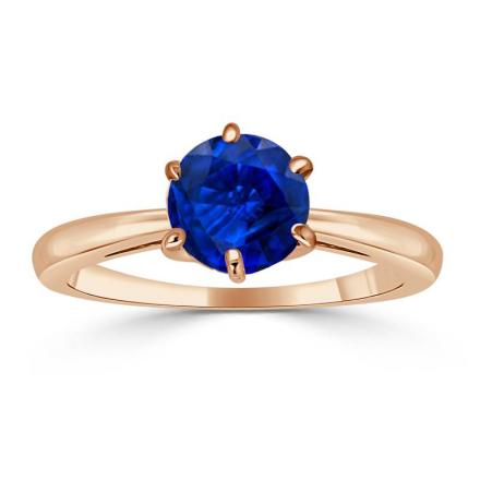 Certified 14k Rose Gold 6-Prong Round Blue Sapphire Gemstone Ring 0.50 ct. tw. (AAA)