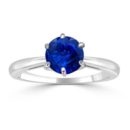 Certified Platinum 6-Prong Round Blue Sapphire Gemstone Ring 0.50 ct. tw. (AAA)