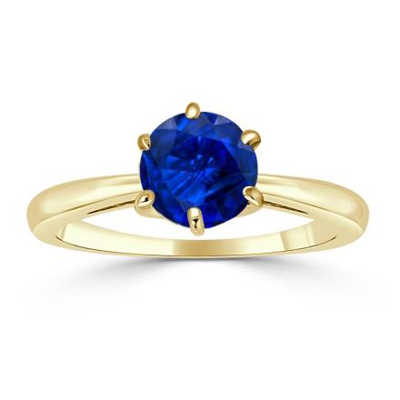 Certified 14k Yellow Gold 6-Prong Round Blue Sapphire Gemstone Ring 0.25 ct. tw. (AAA)