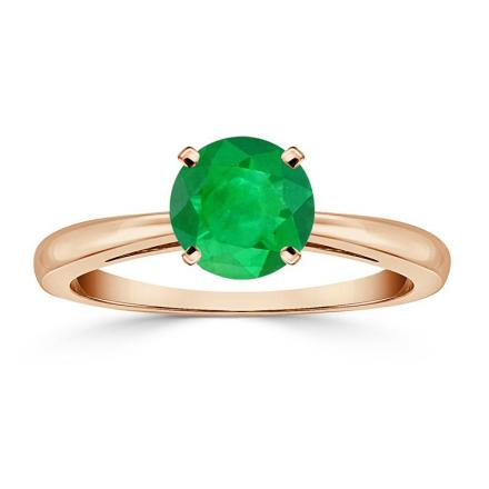 Certified 14k Rose Gold 4-Prong Round Green Emerald Gemstone Ring 1.00 ct. tw. (AAA)