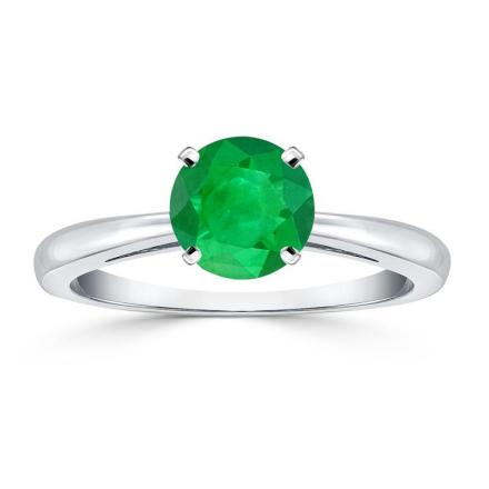 Certified Platinum 4-Prong Round Green Emerald Gemstone Ring 0.50 ct. tw. (AAA)