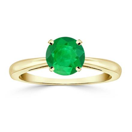 Certified 18k Yellow Gold 4-Prong Round Green Emerald Gemstone Ring 0.75 ct. tw. (AAA)