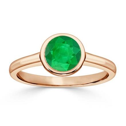 Certified 14k Rose Gold Bezel Round Green Emerald Gemstone Ring 0.50 ct. tw. (AAA)