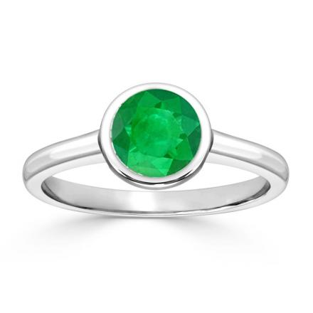 Certified 14k White Gold Bezel Round Green Emerald Gemstone Ring 0.25 ct. tw. (AAA)