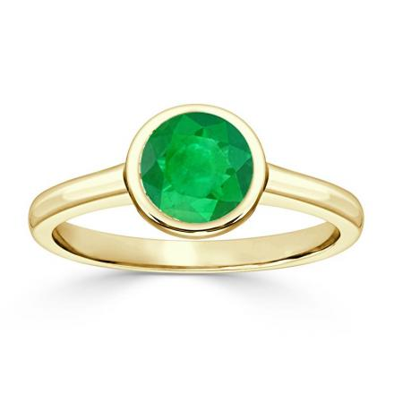 Certified 18k Yellow Gold Bezel Round Green Emerald Gemstone Ring 0.25 ct. tw. (AAA)