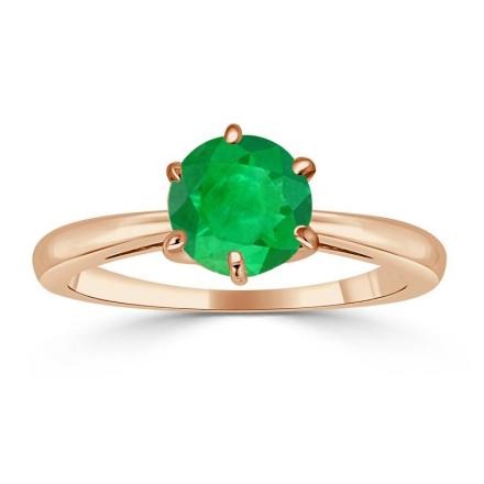 Certified 14k Rose Gold 6-Prong Round Green Emerald Gemstone Ring 0.50 ct. tw. (AAA)