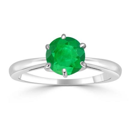Certified 18k White Gold 6-Prong Round Green Emerald Gemstone Ring 0.25 ct. tw. (AAA)