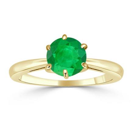 Certified 14k Yellow Gold 6-Prong Round Green Emerald Gemstone Ring 0.75 ct. tw. (AAA)