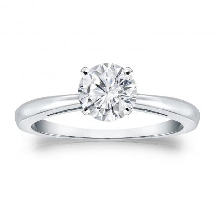 Moissanite Solitaire Ring 1.00 TGW 6.5mm (G-H, VS1-VS2) in 14K White Gold