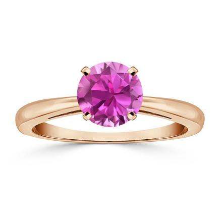 Certified 14k Rose Gold 4-Prong Round Pink Sapphire Gemstone Ring 0.25 ct. tw. (AAA)
