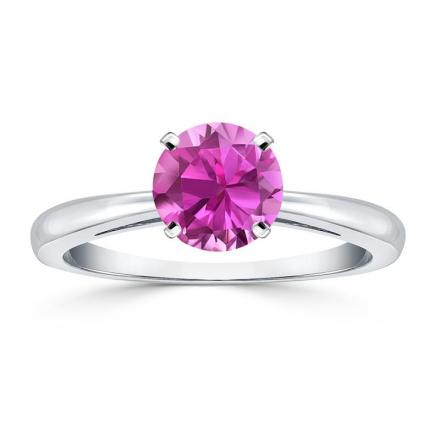 Certified 18k White Gold 4-Prong Round Pink Sapphire Gemstone Ring 0.25 ct. tw. (AAA)