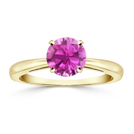 Certified 18k Yellow Gold 4-Prong Round Pink Sapphire Gemstone Ring 0.25 ct. tw. (AAA)