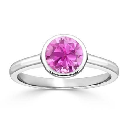 Certified 14k White Gold Bezel Round Pink Sapphire Gemstone Ring 0.25 ct. tw. (AAA)