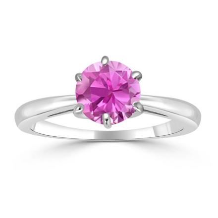 Certified 14k White Gold 6-Prong Round Pink Sapphire Gemstone Ring 0.25 ct. tw. (AAA)
