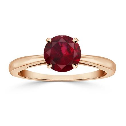 Certified 14k Rose Gold 4-Prong Round Ruby Gemstone Ring 0.75 ct. tw. (AAA)