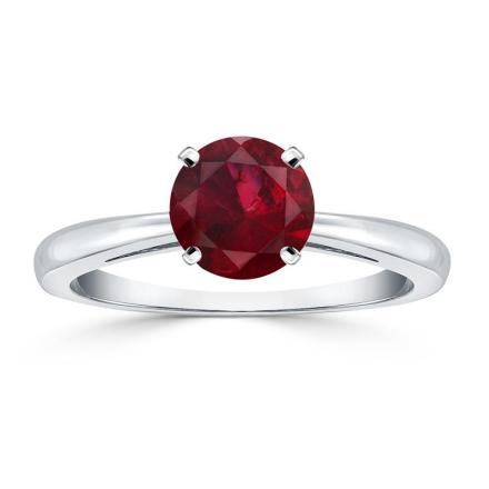 Certified Platinum 4-Prong Round Ruby Gemstone Ring 0.25 ct. tw. (AAA)