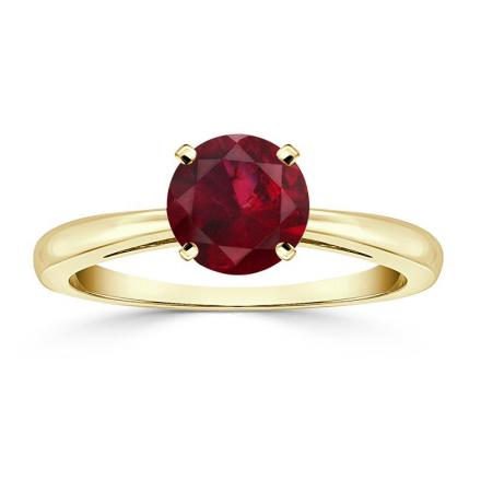 Certified 18k Yellow Gold 4-Prong Round Ruby Gemstone Ring 0.25 ct. tw. (AAA)