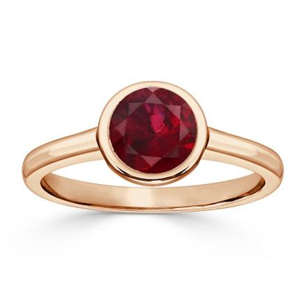 Certified 14k Rose Gold Bezel Round Ruby Gemstone Ring 1.00 ct. tw. (AAA)