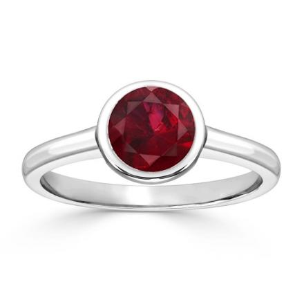 Certified 18k White Gold Bezel Round Ruby Gemstone Ring 0.75 ct. tw. (AAA)