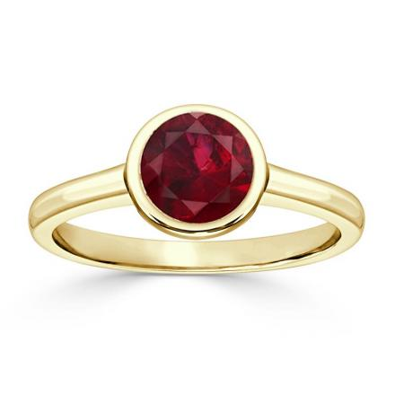 Certified 14k Yellow Gold Bezel Round Ruby Gemstone Ring 0.75 ct. tw. (AAA)